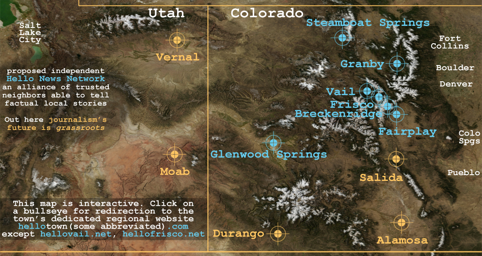eastern utah and western colorado border to border north and south - map of hello online news brand